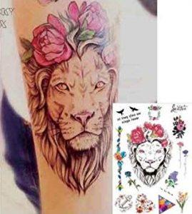 significado tatuaje leon con flores